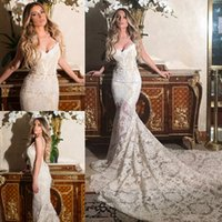 Wholesale Stunning Lace Mermaid Wedding Dresses Spaghetti Neckline Beaded Pearls Sash Wedding Dress Sweep Length Backless Bridal Gowns