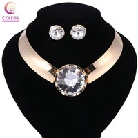 Hot Gold Plated Metallic Necklace Earrings Statement Crystal Jewelry Set for Women Punk Style Female Party Jewelry Sets