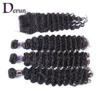 Wholesale Deep Wave Human Hair 5pcs - 4pcs Hair Bundles With 1pc Lace Top Closure Brazilian Hair Weave Deep Wave Curly 5pcs Human Hair Extensions Natural Color