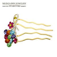 Wholesale Wholesale 14 K Gold - Rhinestone flower Hairwear for Women 14 K Gold Jewelry Charm Neoglory 2017 Fashion Party Gift XMAS W1 SQC