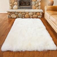 Wholesale Fluffy Rugs - Luxury Rectangle Sheepskin Hairy Carpet Faux Mat Seat Pad Fur Plain Fluffy Soft Area Rug Home Decor
