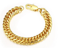 Wholesale Cuban Link Gold Chains Wholesale - Mens Bracelet Stainless Steel Gold Color Curb Cuban Link Chain Jewelry