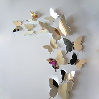 Wholesale 12x Mirror Sliver D Butterflies Wall Stickers Party Wedding Decor Home Decoration Removable Decal Vinyl Art Mural Wall Sticker