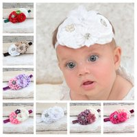 Wholesale Satin Ribbon Band - Children baby handmade beads flower hair band with large rose headband Satin headbands Hessian ribbon grosgrain ribbon flower hair