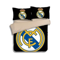 Wholesale New Pcs Bedding Set - 2017 NEW Real Madrid Pattern Bedding Set 2PC-3PC Duvet Cover Pillowcase Twin Queen 2 color optional