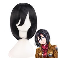 Wholesale Attack Titan Costume Mikasa - shingeki no Coshome Shingeki No Kyojin Attack On Titan Wigs Mikasa Levi Sasha Eren Cosplay Costume Black Yellow And Brown Short Hair