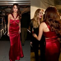 Wholesale Long Evening Dress Selena Gomez - Selena Gomez Straps Cutout Red Long Prom Dress Grammys 2016 Formal Dresses Evening Floor Length Sexy Celebrity Dress