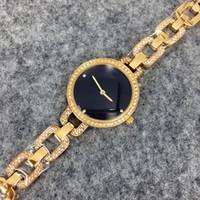neue marke goldene uhr großhandel-2017 neue model luxus uhren frauen beobachten goldenen edelstahl schwarz armband armbanduhren marke weibliche uhr versandkostenfrei