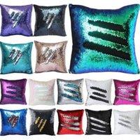 Wholesale Bright Weave - 36 Colors Mermaid Sequins Pillow Covers Xmas Bright Sequin Pillow Sequin Reversible Christmas Home Decorative Pillow Case CCA6736 100pcs