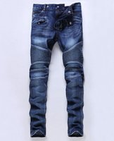 Wholesale High Fashion Clothing For Men - Hot Sale Designer Jeans for Men Slim Motorcycle Biker jeans High Quality Skinny Jeans Denim Pants Brand Clothing
