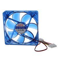 fan 12 v iğnesi toptan satış-Toptan-DC 12V 4-Pin 4 Mavi LED PC Bilgisayar Muhafaza Fanı 120 x 25 mm