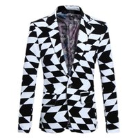 Wholesale Gents Suits - Wholesale- Formal suits for Men Black and white jacquard Fashion casual suits Male Men Suits personality blazer High-quality Gent-Life