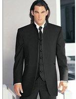Wholesale Groom Tuxedos Black Mandarin Lapel - Groom Tuxedos Black Mandarin Lapel Best Man Groomsmen Men Wedding Suits Prom Form Bridegroom (Jacket+Pants+Tie+Vest)