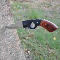 ahşap saplı av bıçakları toptan satış-LED ile! 5 1 Taşınabilir İşlevli Sağkalım El Aletleri Axe + Bıçak + Testere + Makas Silah Şekilli Ahşap Saplı Avcılık Bıçak