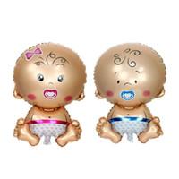 aufblasbarer junge großhandel-80 * 50cm Baby Mädchen Baby Shower Ballon Aluminium dekorative aufblasbare Folie Helium Geburtstag Luftballons