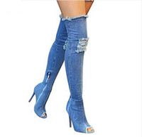 bottes à talon haut achat en gros de-Femmes Denim chaussures été automne peep toe sur le genou Jeans Bottes qualité Haute élastique jeans mode Stiletto talon botte hauts talons plus siz