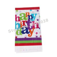 Wholesale Plastic Tablecover - Wholesale-1pcs Lovely 220*132cm disposable Birthday tablecloths Happy birthday kids happy birthday party plastic tablecover supplies