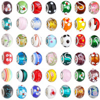2015 New Glass Beads Charms belos europeus Murano Glass Biagi Large Big Hole Rroll Beads Fit For Charm BraceletsNecklace Mix Color
