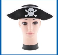 Wholesale caribbean dresses - Halloween Caps Hats Pirate Patch Game Pirate Captain Dress Up Performance Hat Caribbean Pirate Captain's Hat 1518