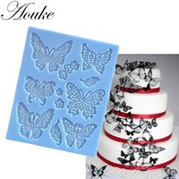 Wholesale Stamping Mats - Aouke Butterfly Lace Mat Moule Silicone Mold Cake Decorating Sugarcraft Fondant Flower Embossing Stamp Pastry tool Wedding