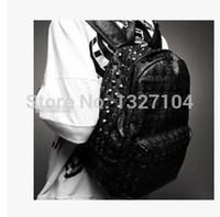 Wholesale Punk Shoulder Bags - Wholesale- brand new Punk Rock Hip Hop Unisex Men Women boy Girl skull Rivets Studded pu leather backpack schoolbag bag shoulder bag