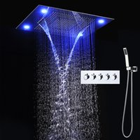 "Wholesale Rainfall Shower Set Hand - New Bathroom 31"" Large Ceiling Light 600*800mm Colorful LED Shower Head Faucet Set Rainfall Super Shower Head+ Hand Shower + Remote Control"