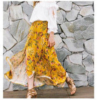 2017 Boho Womens stampa floreale nappa Split Beach Casual Retro Una festa di partito Long Maxi abito gonna gialla