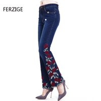 Wholesale Woman Jeans Bell Bottom Jeans Embroidered High Stretch Womens Flared Pants Ladies Flowers Embroidery Blue Jeans Mujer Femme