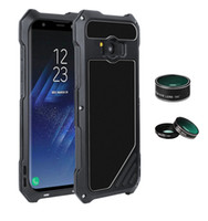 Wholesale Macro Fittings - IP54 Life Waterproof Phone Case For Sumsung S8 S8 Plus Aluminum Alloy Ultra-Thin Phone Cover With Wide-angle Fish Eye lens Macro lens