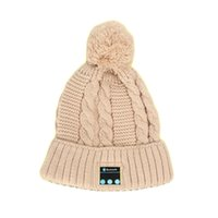 Wholesale Dome Wireless - Soft Warm Beanie knit Hat Wireless Bluetooth Smart Cap Headphone Headset Speaker Mic for mobile phone