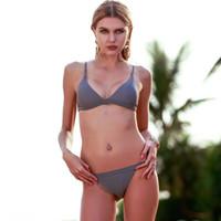 Wholesale Micro Bikini Beige - Sexy Micro Bikini Swimwear Women Swimsuit 2017 New Halter Brazilian Bikini Set Beach Bathing Suits Swim Wear Biquini