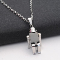 Wholesale Robot Charm Necklace - 316L Stainless Steel Mens Necklace Fashion Silver Color Robot Pendant Necklace High Quality Fine Jewelry Gift For Robot Fans