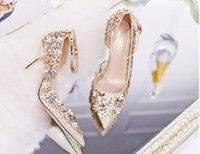 Wholesale Wedding Shoe Ankle Flower - 2017 wedding shoes bridal golden silver high heels pointed heels bridesmaid shoes flower heels Rhinestone shoes
