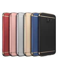 Wholesale Luxury Cell Phone Case Wholesale - For samsung galaxy S8 S7 edge cases 3 in 1 luxury hybrid metal electroplating cell phone cases wholesales for iphone 7 6s Plus