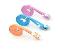 cables de fideos 2m al por mayor-2M 6FT 1M 3FT Noodle Flat Micro USB Cable Cables Cables de alimentación USB Cargador V8 Línea de carga para Android Samsung S6 S7 HUAWEI NUEVO