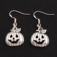 Wholesale rhodium hooks for sale - Group buy Halloween Pumpkins Earrings Silver Fish Ear Hook pairs Antique Silver Chandelier E1098 x15 mm