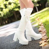 Wholesale Legs Heels - Wholesale- Hot Sell Autumn Winter High-leg Boots Female Thick Heel Platform Women Knee High Tassel Boots Black White Plus Size 34-43