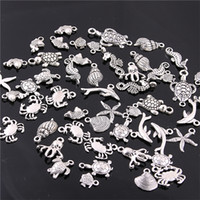 Wholesale Antique Sweets - Sweet Bell 60PCS Mixed Antique silver mini Ocean Dolphin Shell Charms Pendant Jewelry Making Diy Charm Handmade Crafts H3003