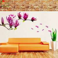 Grande taille rose magnolia fleur vinyle stickers muraux home decor chambres salon canapé fond d'écran Design wall art stickers maison décoration