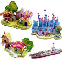 Wholesale Paper Toy Puzzle 3d - Children 3D puzzles paper puzzle toys DIY building hut kindergarten manual