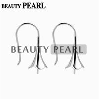 Wholesale Wholesale Half Drilled Beads - 5 Pairs Sterling 925 SilverJewellery Findings Earwire Flat Fishhook with Bead Cap for Half Drilled Pearls