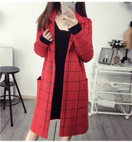 Wholesale cardigan ladies long design - Wholesale- 2016 New hot selling women's autumn coats girls casual fashion Korean design plaid cardigans red navy lady long outerwears #H583