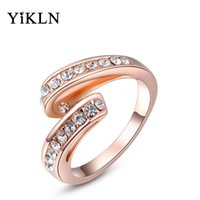 Cluster Rings alibaba express - Alibaba express Christmas Gift Classic Rose Gold Plated Genuine Austrian Crystal Wedding Rings For Women Anel