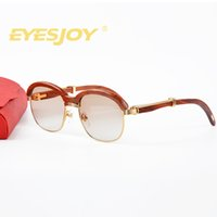 Wholesale Resin Wood - Brand retro real wood sunglasses brands for women luxury brand vintage designer Sunglasses classic wood half frame sunglasses with red Box