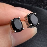 Wholesale Gold Earrings For Babies - Top Selling Small 18K White Gold Plated Black AAA CZ Crystal Stud Earrings for Babies Kids Girls Males and Females Men Earrings