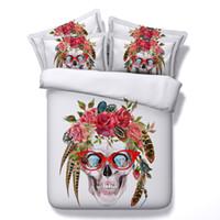 ingrosso skull bedding-Cranio di nuovo modo 3D insiemi 4pcs Consolatore Imposta tiwn completa regina re Size Duvet Cover lenzuolo Federe cenery