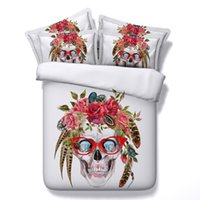 Skull New Fashion 3D Literie Ensembles 4pcs Ensembles de couette Tide Full Queen King Size Duvet Housse Feuille de lit Coussins cenery