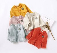 Wholesale Ins New girl boy baby solid colors Long Sleeve v neck buttons coat cotton girl spring fall casual Outwear knitting kids coat colors