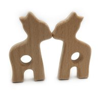 Wholesale Giraffe Teether - Wooden Giraffe Big Size Unfinished Beechwood Pendent Handmade DIY Teething Wood Teether Toy Pendants For Children