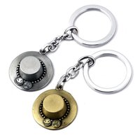 Wholesale one piece anime keychain - One Piece Anime Ace Hat Key Rings Silver Bronze Car Key Rings & keychain Jewelry For Gift